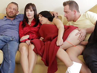 Youthful daughter-in-law and her stepbrother tearing up rigid