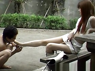 Japanese insufferable slave on Street