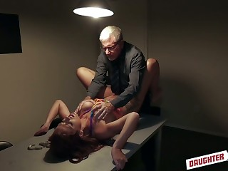 Filthy chick Izzy Lush gets her pussy licked and fucked apart from one old fart