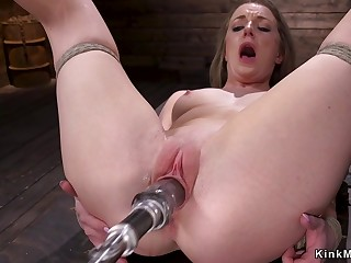 Small fun bags auric hair descendant in dungeon fucks machine