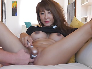 Exotic asian MILF Tiffany needs a concisely in a holding pattern masturbating at home