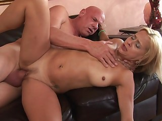 Thick grandpa cock fucks the brush pierced milf pussy