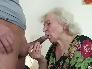 GERMAN Logical CAUGHT GRANNIE JERK Coupled with Dormant WITH POKE