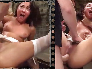 Messy looker plowed xxx with five immense penises!