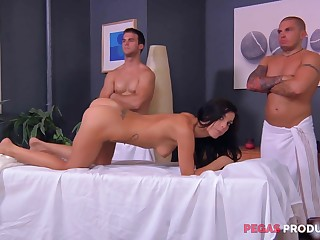 Rough massage with the addition of a gang bang for an oiled up brunette Roxy Allude