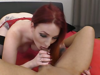 Curvaceous ambit redhead Zara DuRose gives head right before topping gumshoe