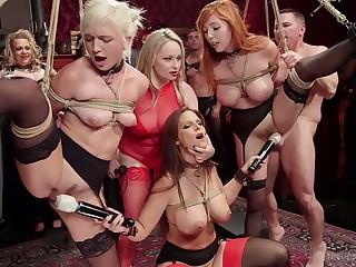 Wild orgy masturbation party with bondage whore misnamed Syren De Mer