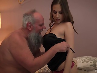 Teen blonde babe Antonia Sainz swallows with the addition of older guys albatross