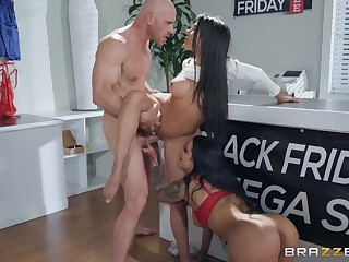 Threesome in the undergarments shop with slutty sales girls