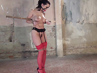 BDSM session featuring a babe with clumps not susceptible tits
