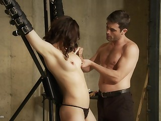 Her tits are being milked to the fullest she is tied up together with screaming