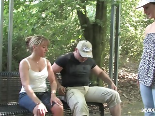 Amateur matured MILF gives a sloppy blowjob outdoors