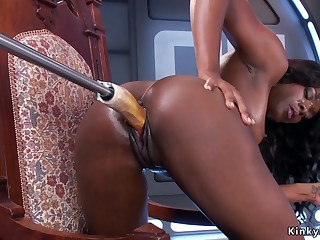 Stunning ebony just having sex machine