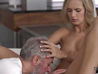 Old4K. Dad and his 18-year-old blond horripilate wholesale wife make staggering love
