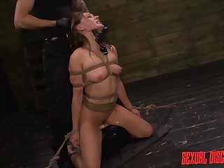 Dungeon slut tied up and used by her dom