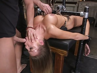 Doomed up Circe Britney Amber is face fucked before hardcore pussy pounding