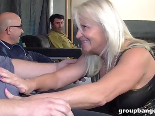 Chubby matured blonde granny sprayed with cum with reference to a gangbang