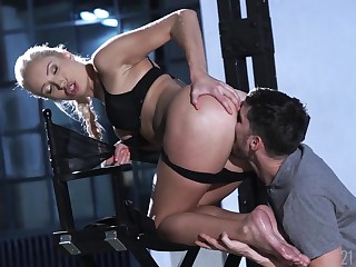 Footjob and cunt shafting fun with a gorgeous blonde