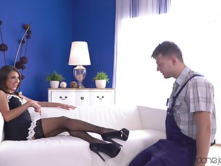 A hot Mistress in a French maid outfit has beguilement with her slave.
