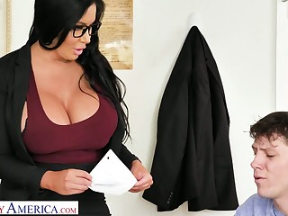 More than unique delectable giant breasted MILFie tutor Sybil Stallone gives titjob