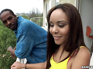Bubble butt Latina fucked doggy similar to by big black cock