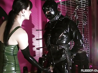 Black latex on Cheyenne de Muriel's body makes this dude hornier than without exception