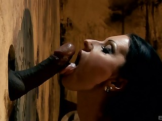 Cindy Hope blows like never hard and unscrupulous penis trough the wall
