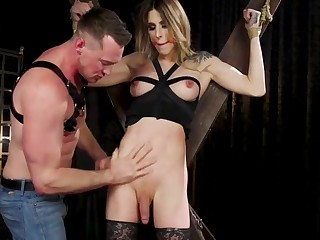 Blindfolded trannie sub anal fucked by master