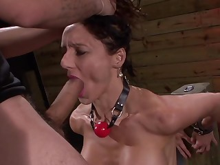 Strong gagging and hardcore BDSM anal for put emphasize brunette whore