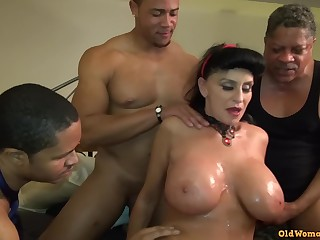 Old Mature Granny Goes Black-potty: Interracial gangbang everywhere busty GILF