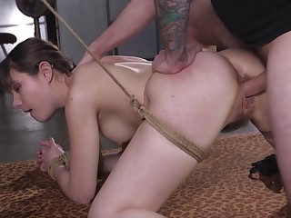 Horny man fucks her restrained with an increment of cums on her feature
