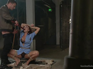 Milf gets gagged increased by brutally fucked in a wild BDSM play the part