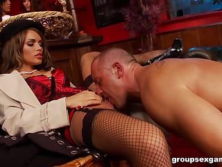 Amy Azzura and Anna Lovato fucked in a nasty massive group sex