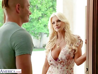 A guy gets seduced and fucked by his friend's gorgeous MILF stepmom