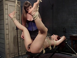 Bondage innovative during bungling femdom for duo sluts