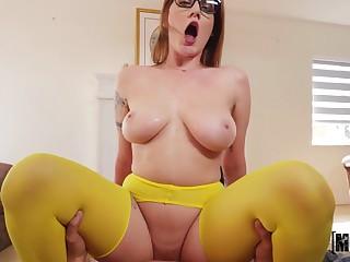 Young busty Aria Kai riding dick for cum everywhere sexy beaker