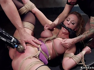 Full-Bosomed bondage porn babe rough shagged