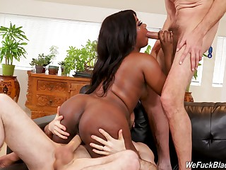 Needy ebony handles two big white cocks like a protest