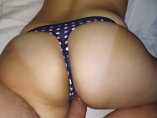 I love how my GF's ass look in a blue thong increased by she loves my dick for sure