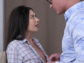 Clothes-horse kisses girl Roxy Tone fucking the brush wet shaved pussy missionary