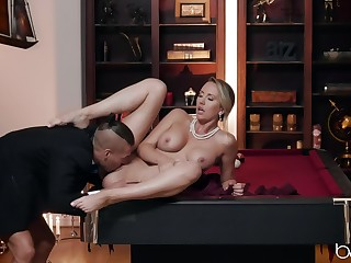 Sensual woman acts elegant above top of a big win out over