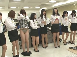 Lot of kinky Japanese babes take off their rags close to tease
