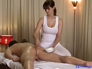 Beloved Rita Peach gives a male massage customer full-service