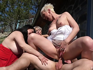 Slim matures share burnish apply dick in sunny outdoor charm scenes