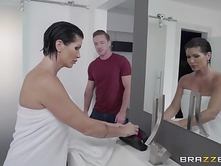 Unexpected lover shocks scare the bejesus out of busty MILF Shay Fox