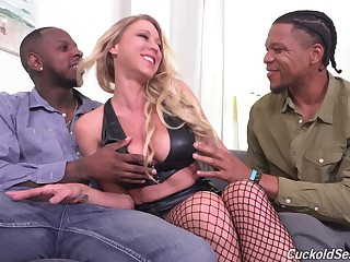 Sexy pornstar Katie Morgan fucked by four black dudes while hubby watches
