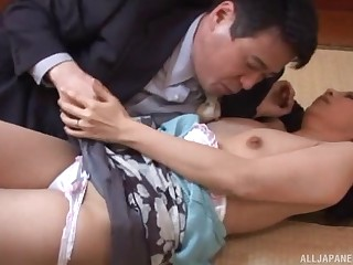 Shy looking Japanese mature ends nearly fucking of a piece with a whore