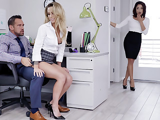 Manager have three-way intercourse with workers
