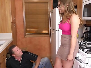 Enormous tited woman is cuckold on say no to hubby all over a naughty neighbour, in hammer away scullery